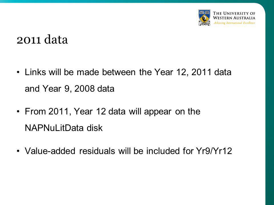 2011 data Links will be made between the Year 12, 2011 data and Year 9, 2008 data From 2011, Year 12 data will appear on the NAPNuLitData disk Value-added residuals will be included for Yr9/Yr12