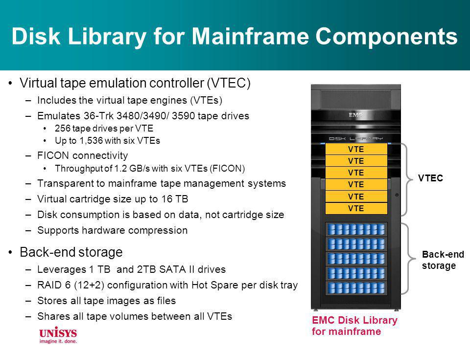 Disk Library for Mainframe Components Virtual tape emulation controller (VTEC) –Includes the virtual tape engines (VTEs) –Emulates 36-Trk 3480/3490/ 3