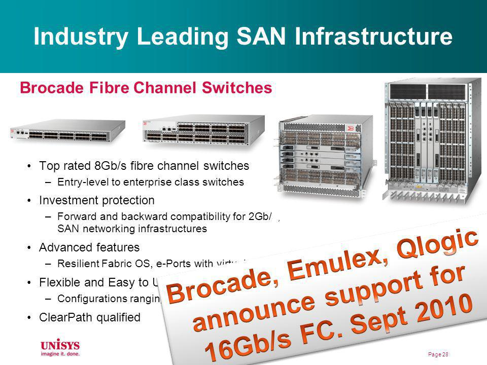 Industry Leading SAN Infrastructure Top rated 8Gb/s fibre channel switches –Entry-level to enterprise class switches Investment protection –Forward an