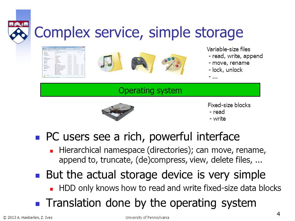 © 2013 A. Haeberlen, Z. Ives Complex service, simple storage PC users see a rich, powerful interface Hierarchical namespace (directories); can move, r