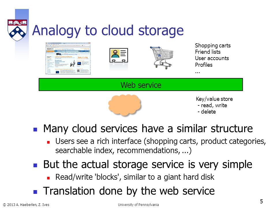 © 2013 A. Haeberlen, Z. Ives Analogy to cloud storage Many cloud services have a similar structure Users see a rich interface (shopping carts, product