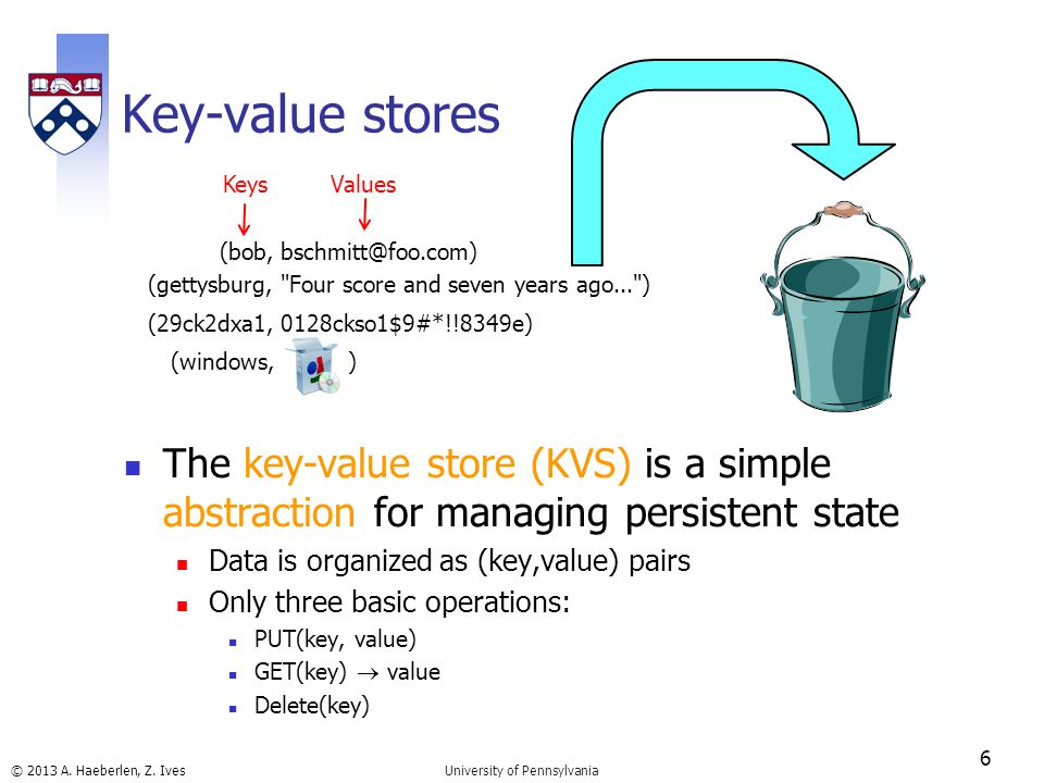 © 2013 A. Haeberlen, Z. Ives Key-value stores The key-value store (KVS) is a simple abstraction for managing persistent state Data is organized as (ke