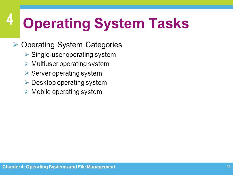 4 Operating System Tasks Operating System Categories Single-user operating system Multiuser operating system Server operating system Desktop operating