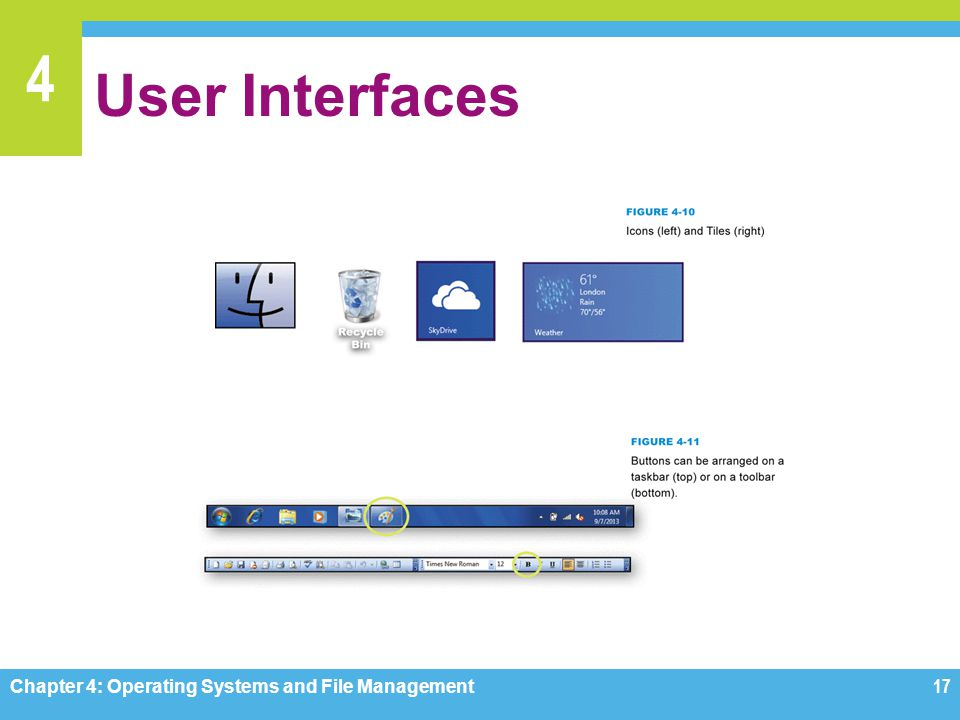 4 User Interfaces Chapter 4: Operating Systems and File Management17