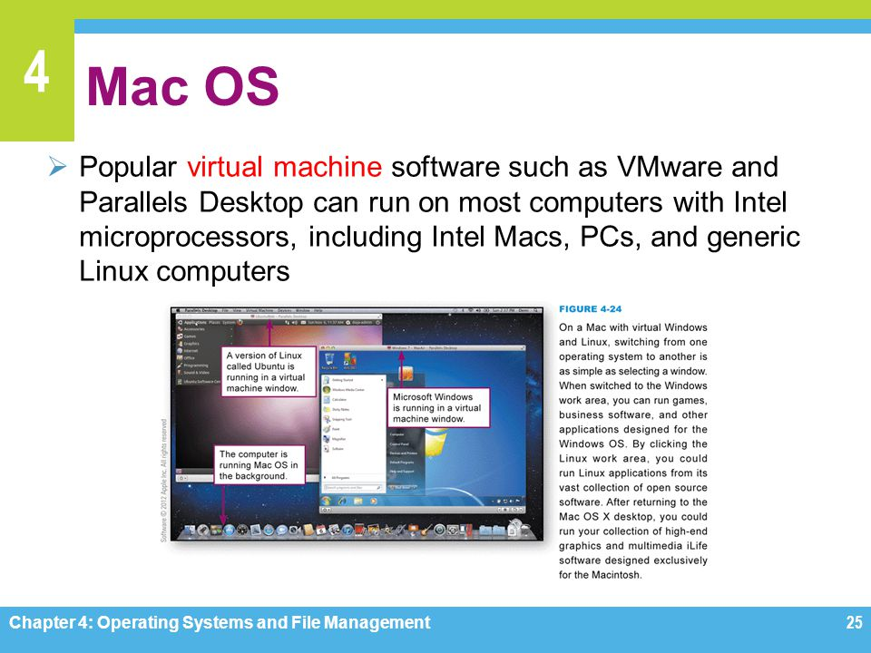 4 Mac OS Popular virtual machine software such as VMware and Parallels Desktop can run on most computers with Intel microprocessors, including Intel M