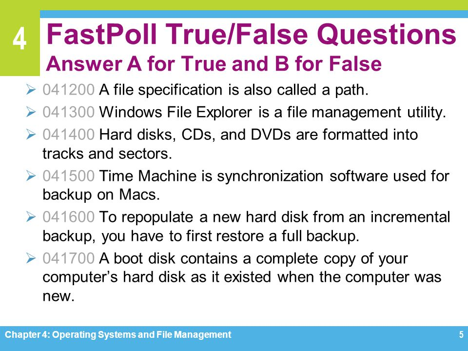 4 Question 042500 Copying important data files from your computers hard disk to an optical disk or flash drive is a simple way to back up data.