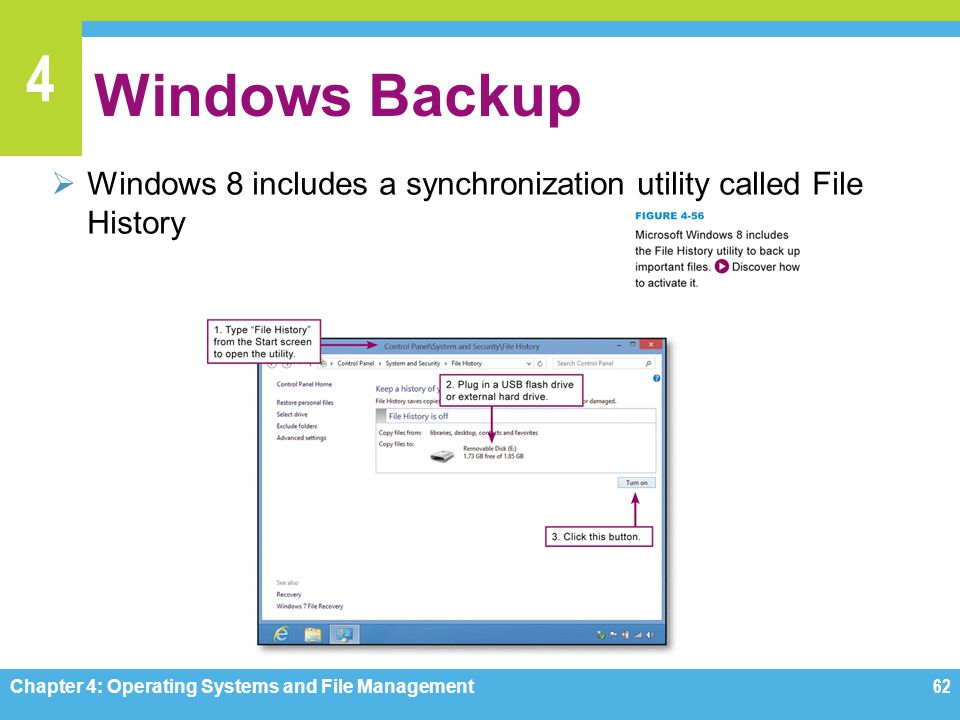 4 Windows Backup Windows 8 includes a synchronization utility called File History Chapter 4: Operating Systems and File Management62