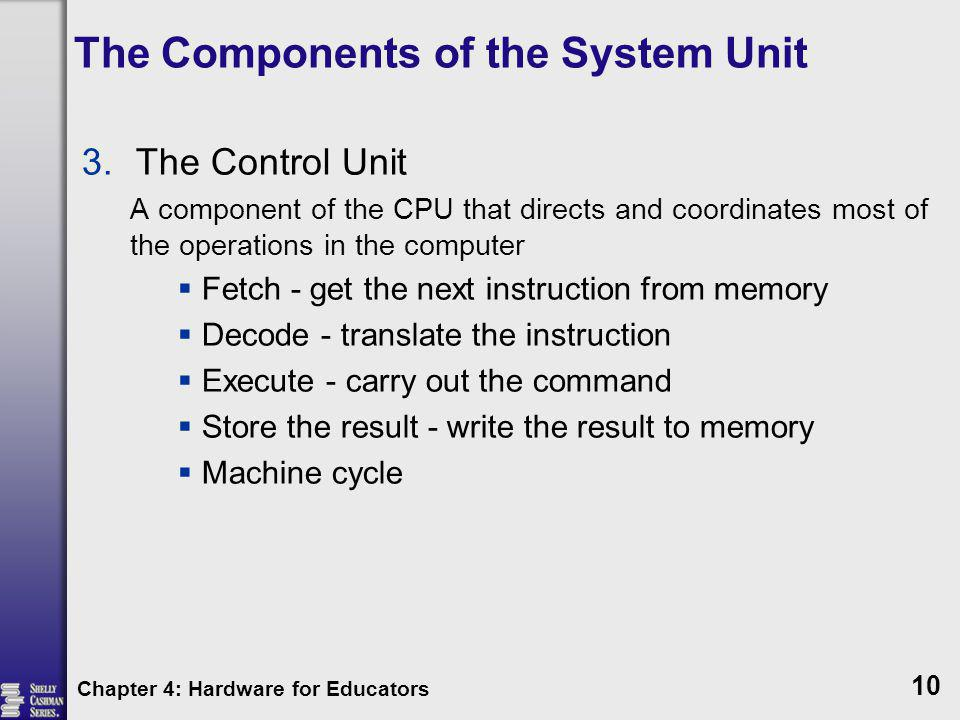 The Components of the System Unit 3.The Control Unit A component of the CPU that directs and coordinates most of the operations in the computer Fetch
