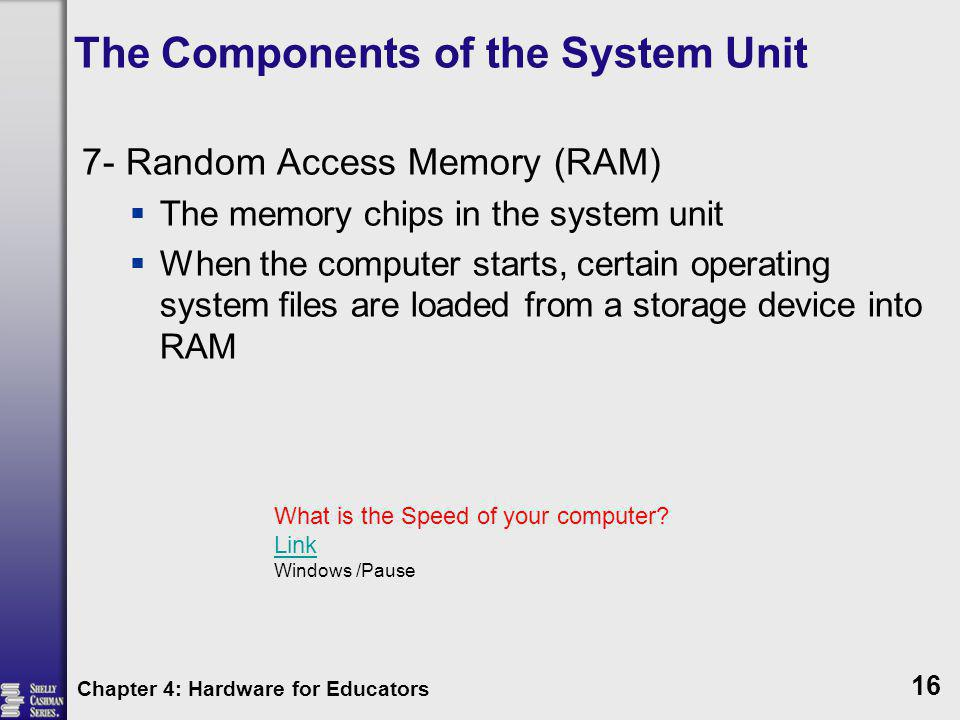 The Components of the System Unit 7- Random Access Memory (RAM) The memory chips in the system unit When the computer starts, certain operating system