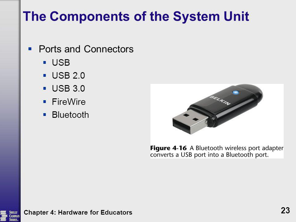 The Components of the System Unit Ports and Connectors USB USB 2.0 USB 3.0 FireWire Bluetooth Chapter 4: Hardware for Educators 23