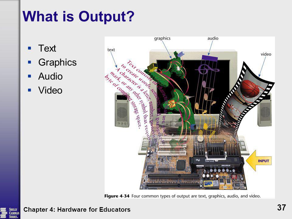 What is Output? Text Graphics Audio Video Chapter 4: Hardware for Educators 37