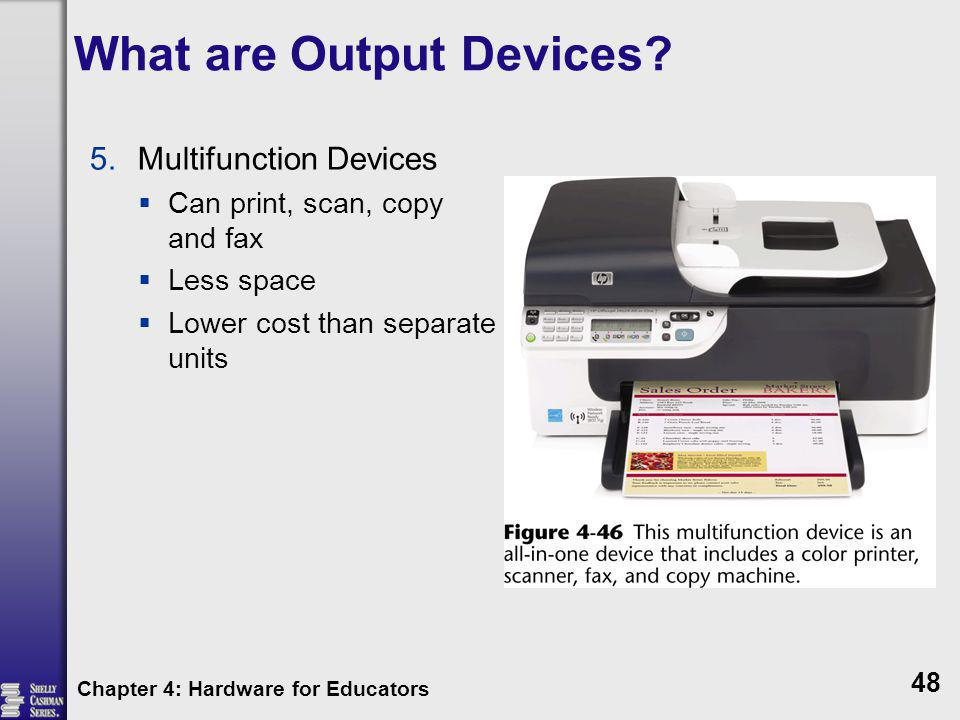 What are Output Devices? 5.Multifunction Devices Can print, scan, copy and fax Less space Lower cost than separate units Chapter 4: Hardware for Educa