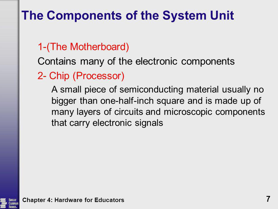 The Components of the System Unit Read-Only Memory (ROM) Cannot be modified Contents not lost when the computer is turned off Chapter 4: Hardware for Educators 18