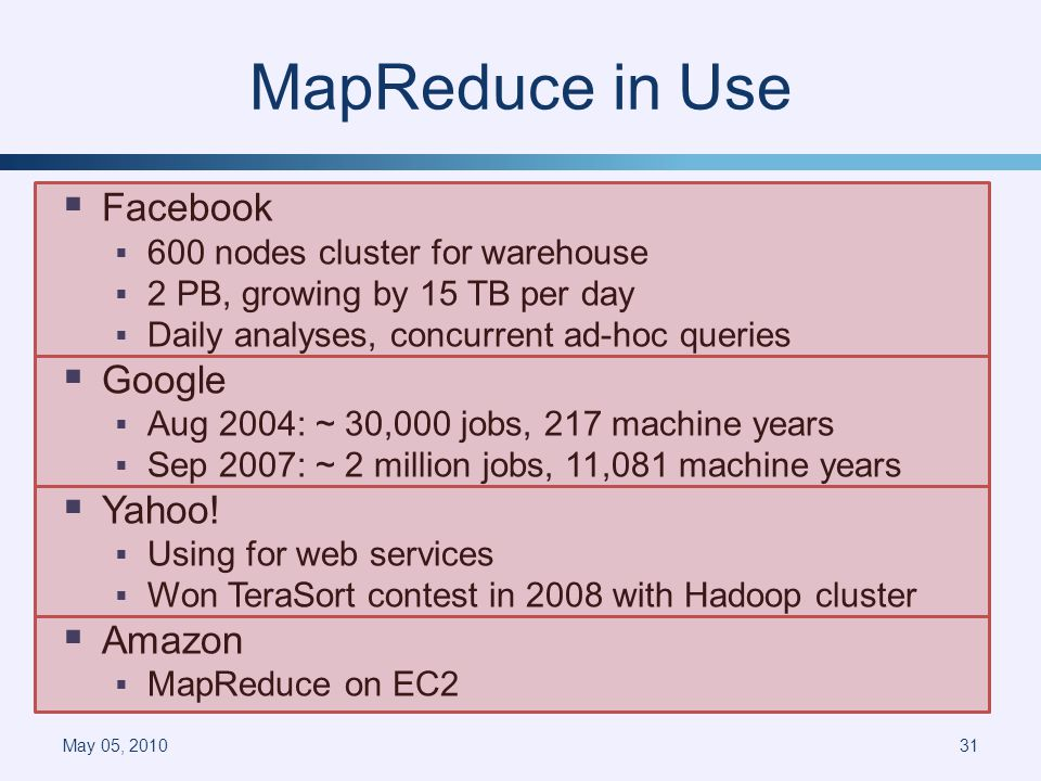 MapReduce in Use Facebook 600 nodes cluster for warehouse 2 PB, growing by 15 TB per day Daily analyses, concurrent ad-hoc queries Google Aug 2004: ~ 30,000 jobs, 217 machine years Sep 2007: ~ 2 million jobs, 11,081 machine years Yahoo.