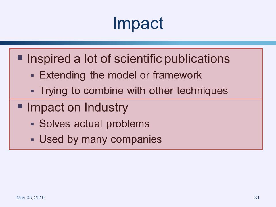 Impact Inspired a lot of scientific publications Extending the model or framework Trying to combine with other techniques Impact on Industry Solves actual problems Used by many companies May 05, 201034