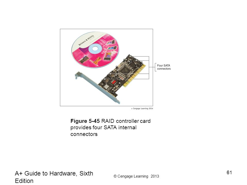 © Cengage Learning 2013 A+ Guide to Hardware, Sixth Edition 61 Figure 5-45 RAID controller card provides four SATA internal connectors