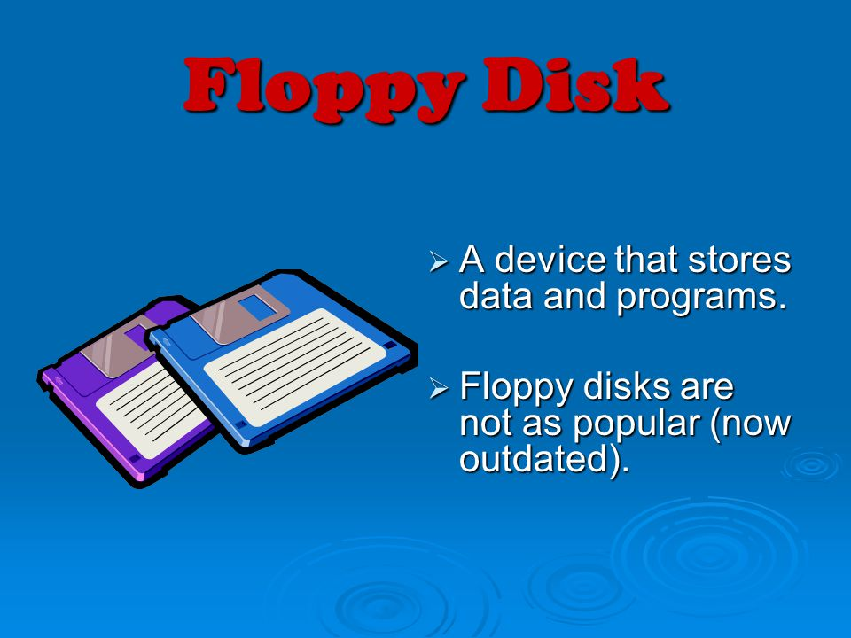 Floppy Disk A device that stores data and programs. A device that stores data and programs. Floppy disks are not as popular (now outdated). Floppy dis