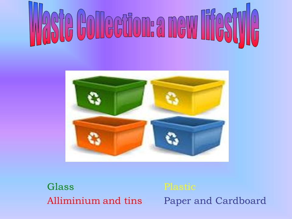 GlassPlastic Alliminium and tinsPaper and Cardboard