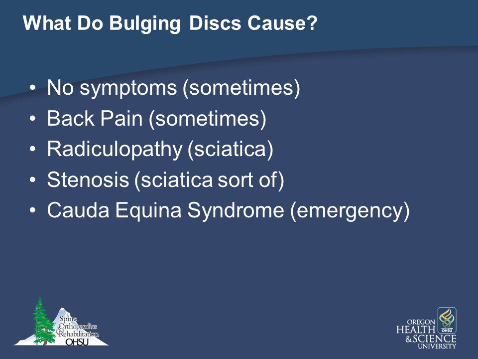What Do Bulging Discs Cause? No symptoms (sometimes) Back Pain (sometimes) Radiculopathy (sciatica) Stenosis (sciatica sort of) Cauda Equina Syndrome