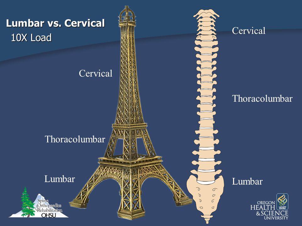 Cervical Thoracolumbar Lumbar Thoracolumbar Lumbar Cervical Lumbar vs. Cervical 10X Load