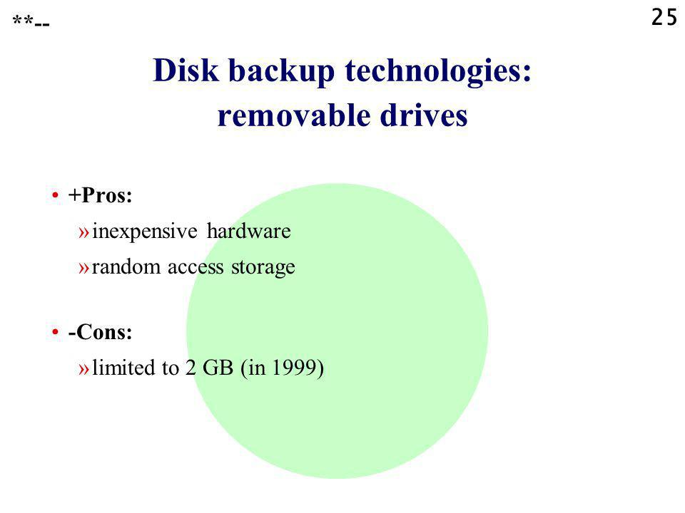 25 Disk backup technologies: removable drives +Pros: »inexpensive hardware »random access storage -Cons: »limited to 2 GB (in 1999) **--