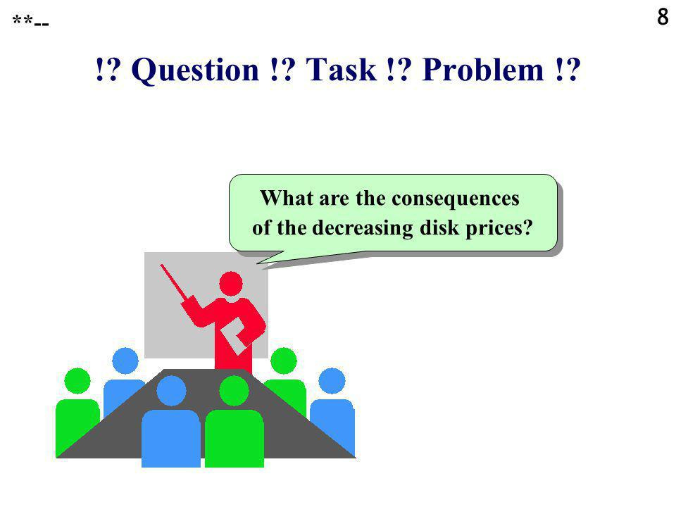 8 ! Question ! Task ! Problem ! What are the consequences of the decreasing disk prices **--