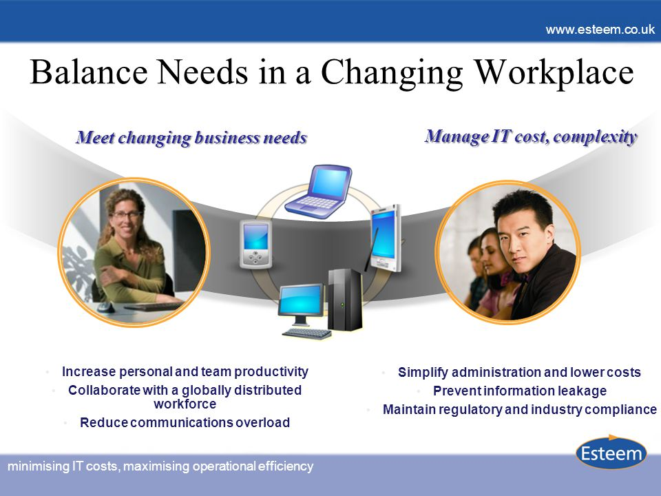minimising IT costs, maximising operational efficiency www.esteem.co.uk minimising IT costs, maximising operational efficiency www.esteem.co.uk Balance Needs in a Changing Workplace Increase personal and team productivity Collaborate with a globally distributed workforce Reduce communications overload Meet changing business needs Simplify administration and lower costs Prevent information leakage Maintain regulatory and industry compliance Manage IT cost, complexity