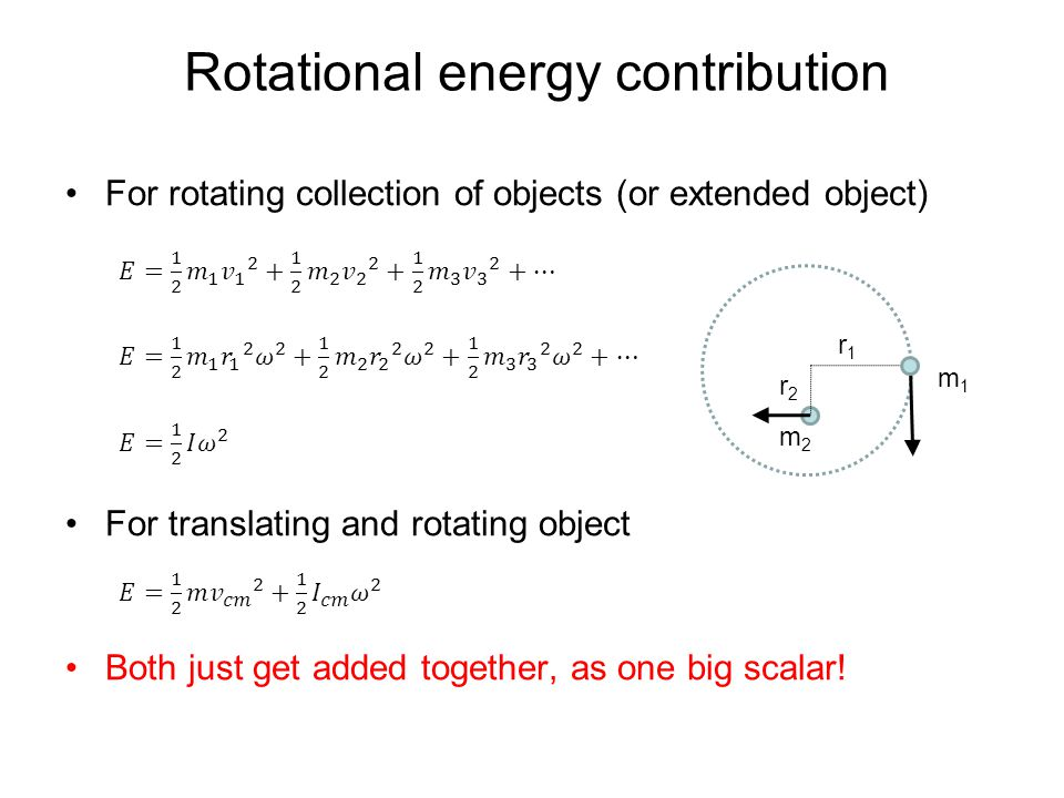 Rotational energy contribution r1r1 m1m1 m2m2 r2r2