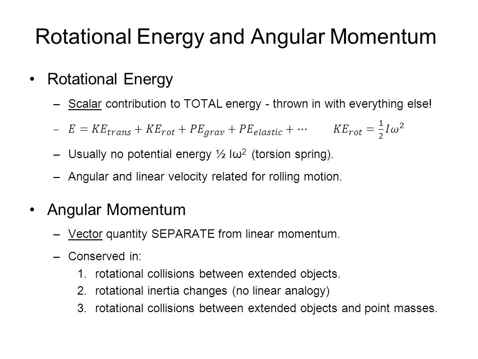 Rotational Energy and Angular Momentum
