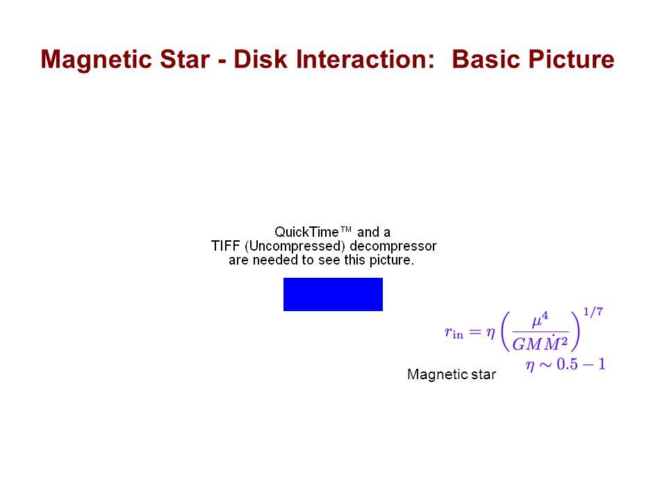 Magnetic Star - Disk Interaction: Physical Processes Magnetic field reconnects and penetrates the inner region of disk Field lines linking star and disk are twisted --> toroidal field --> field inflation Reconnection of inflated fields restore linkage