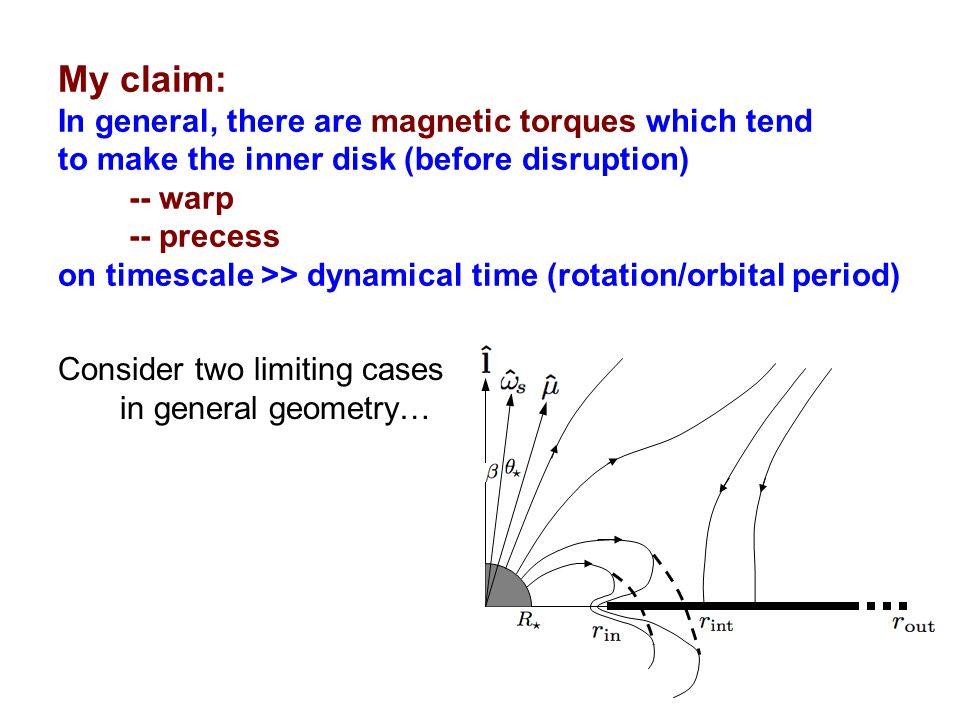 My claim: In general, there are magnetic torques which tend to make the inner disk (before disruption) -- warp -- precess on timescale >> dynamical ti
