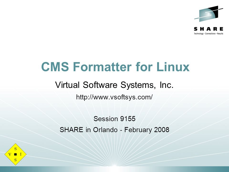 CMS Formatter for Linux Virtual Software Systems, Inc.