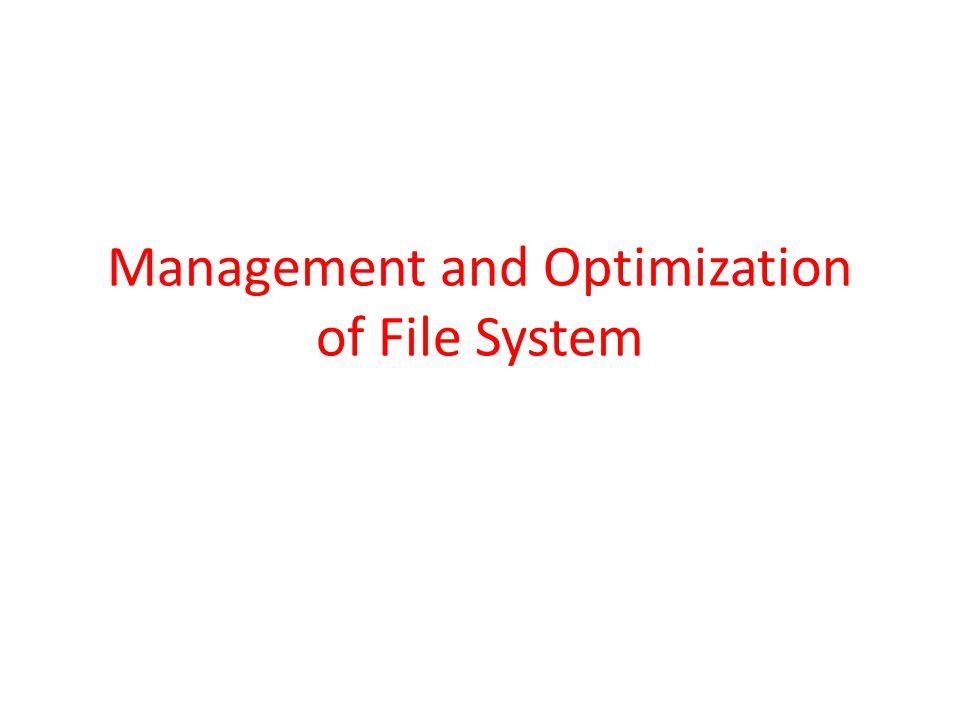 Management and Optimization of File System