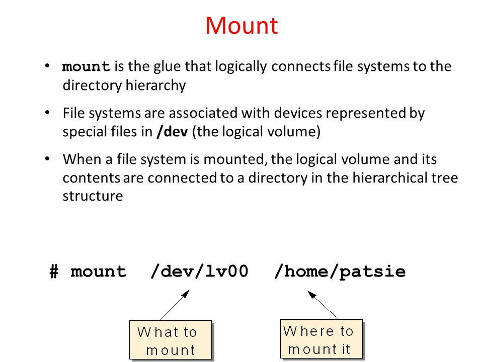 mount is the glue that logically connects file systems to the directory hierarchy File systems are associated with devices represented by special file