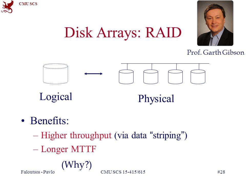 CMU SCS Faloutsos - PavloCMU SCS 15-415/615#28 Disk Arrays: RAID Benefits: –Higher throughput (via data striping) –Longer MTTF Logical Physical (Why ) Prof.