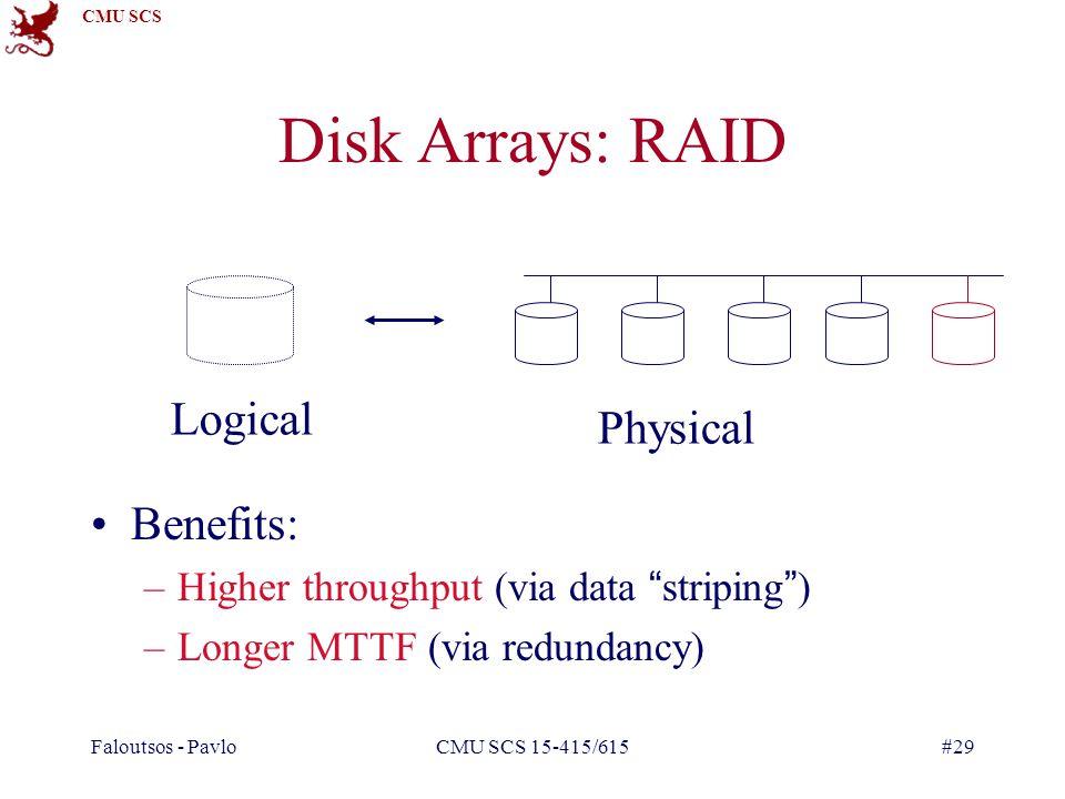 CMU SCS Faloutsos - PavloCMU SCS 15-415/615#29 Disk Arrays: RAID Benefits: –Higher throughput (via data striping) –Longer MTTF (via redundancy) Logical Physical