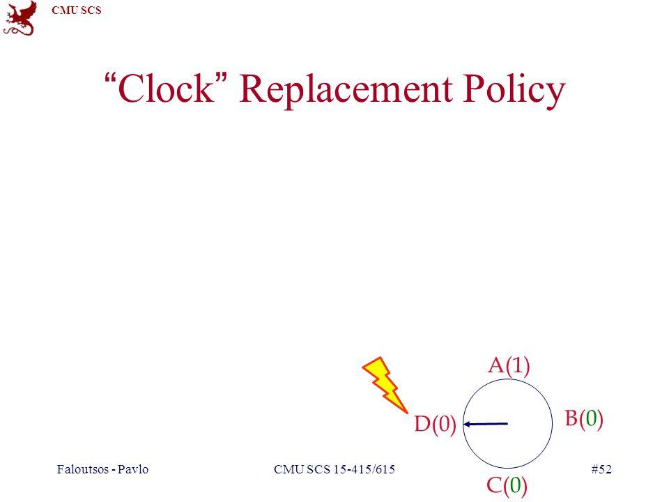 CMU SCS Faloutsos - PavloCMU SCS 15-415/615#52 Clock Replacement Policy A(1) B(0) C(0) D(0)