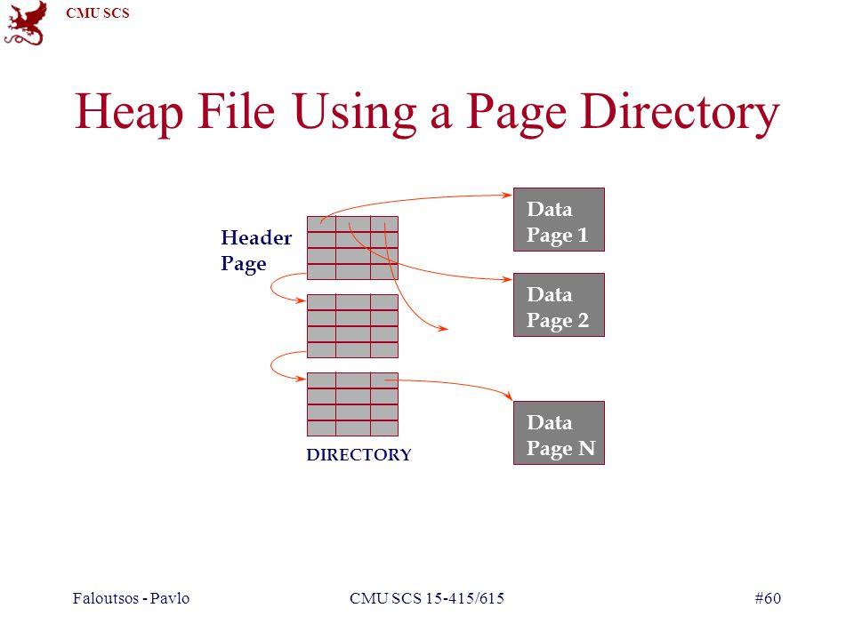 CMU SCS Faloutsos - PavloCMU SCS 15-415/615#60 Heap File Using a Page Directory Data Page 1 Data Page 2 Data Page N Header Page DIRECTORY