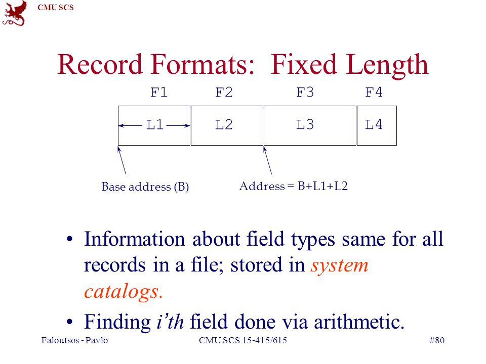 CMU SCS Faloutsos - PavloCMU SCS 15-415/615#80 Record Formats: Fixed Length Information about field types same for all records in a file; stored in system catalogs.