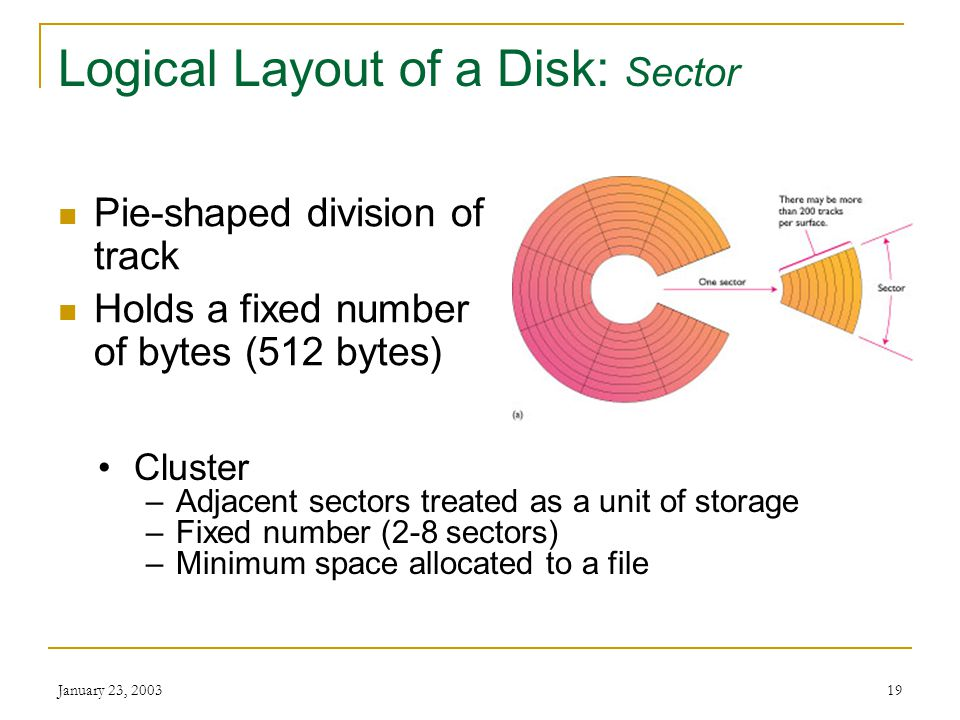 January 23, 200318 Logical Layout of a Disk: Track Concentric circles Passes under read/write head as disk rotates 1.44 MB diskette has 80 tracks on e