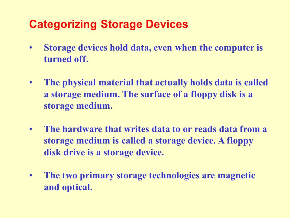 This lesson includes the following sections: Categorizing Storage Devices Magnetic Storage Devices Optical Storage Devices