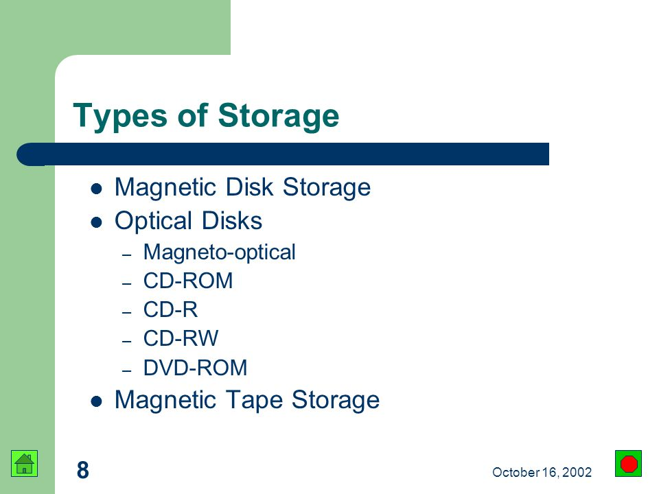 8 October 16, 2002 Types of Storage Magnetic Disk Storage Optical Disks – Magneto-optical – CD-ROM – CD-R – CD-RW – DVD-ROM Magnetic Tape Storage