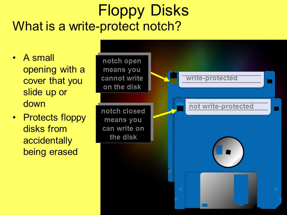 Introduction Computer Hardware Jess Role @UEAB 2006 Floppy Disks What is a write-protect notch.