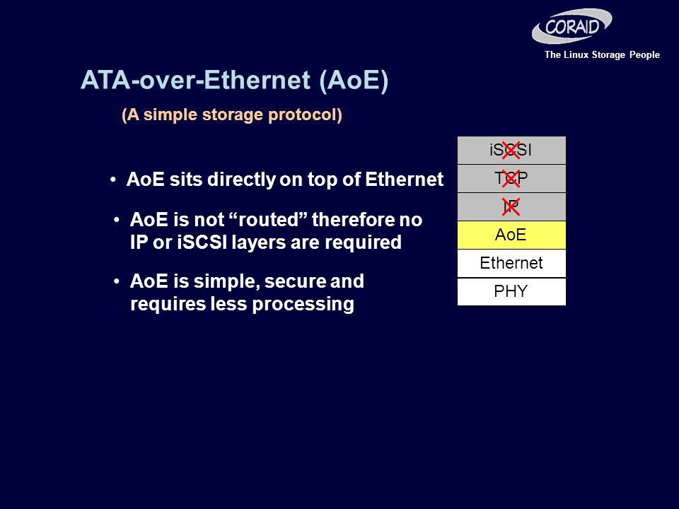 The Linux Storage People ATA-over-Ethernet (AoE) (A simple storage protocol) AoE Ethernet PHY IP TCP iSCSI AoE sits directly on top of Ethernet AoE is not routed therefore no IP or iSCSI layers are required AoE is simple, secure and requires less processing