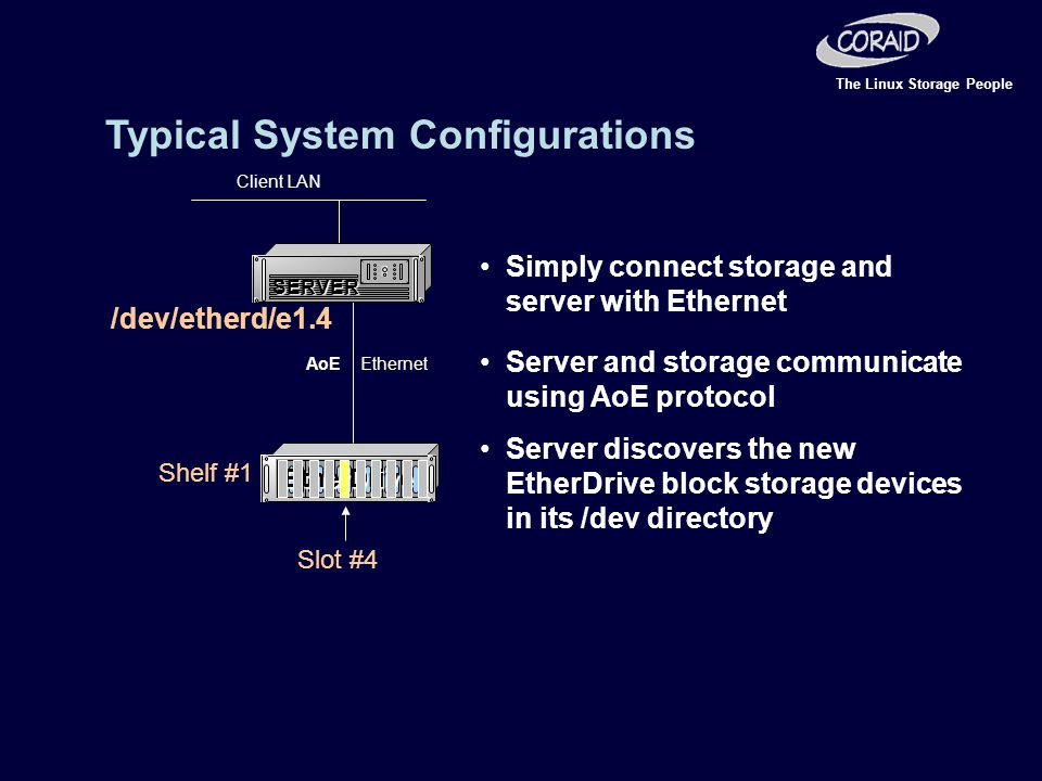 The Linux Storage People Ethernet Client LAN AoE Simply connect storage and server with Ethernet Server and storage communicate using AoE protocol Server discovers the new EtherDrive block storage devices in its /dev directory /dev/etherd/e1.4 Shelf #1 Slot #4 Typical System Configurations SERVER