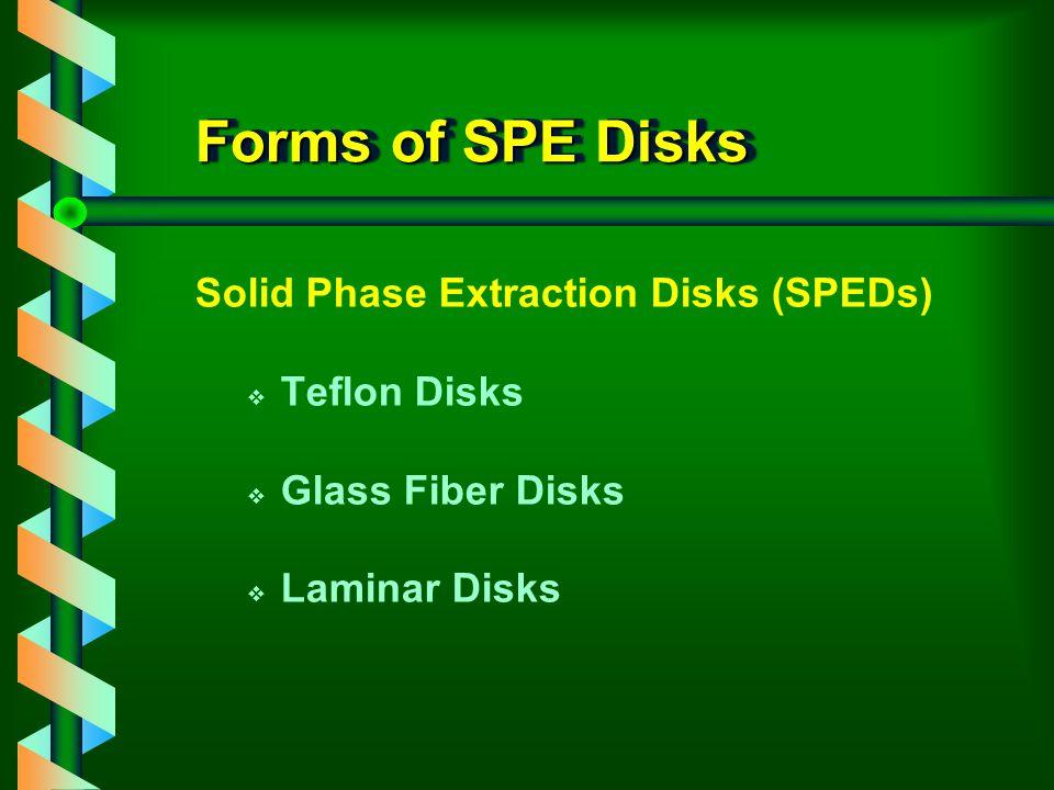 Forms of SPE Disks Solid Phase Extraction Disks (SPEDs) v Teflon Disks v Glass Fiber Disks v Laminar Disks
