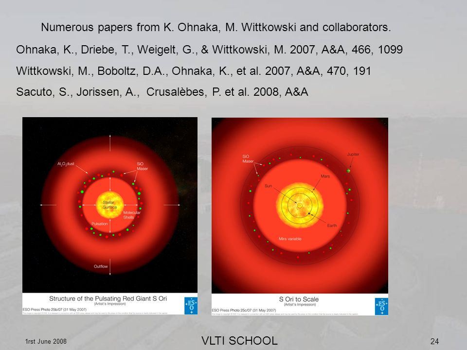 VLTI SCHOOL 1rst June 2008 24 Numerous papers from K.