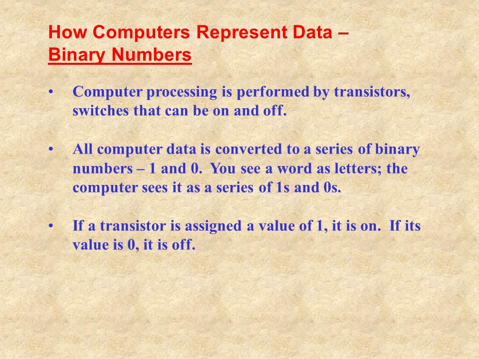 Binary Numbers Bits and Bytes Text Codes How Computers Represent Data