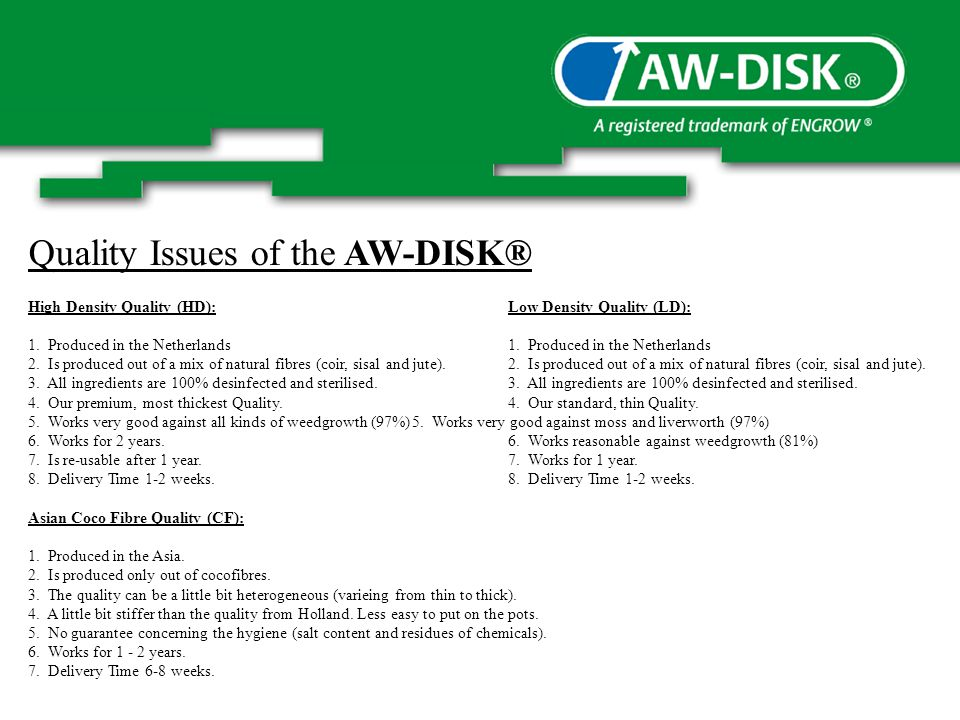 Quality Issues of the AW-DISK® High Density Quality (HD):Low Density Quality (LD): 1.