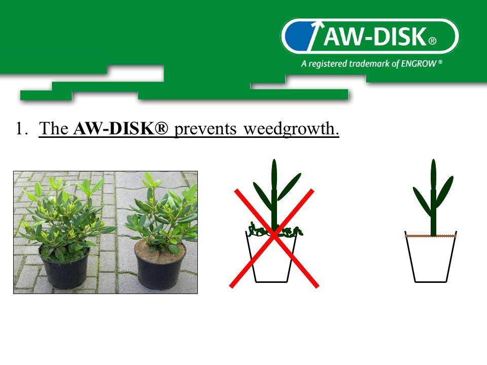 1.The AW-DISK® prevents weedgrowth.